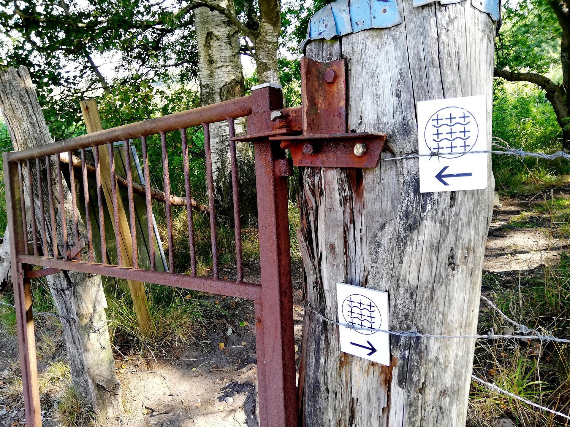 Skilte og låge på Caminoturen ved Starup Hede